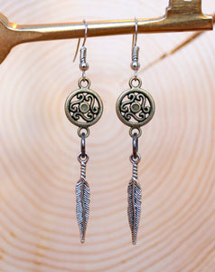 Coin + Silver Feather Mixed Metal Earrings