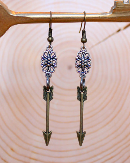 Mixed Metal Flower Brass Arrow Earrings