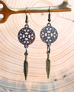 Mixed Metal Mandala & Brass Feather Earrings