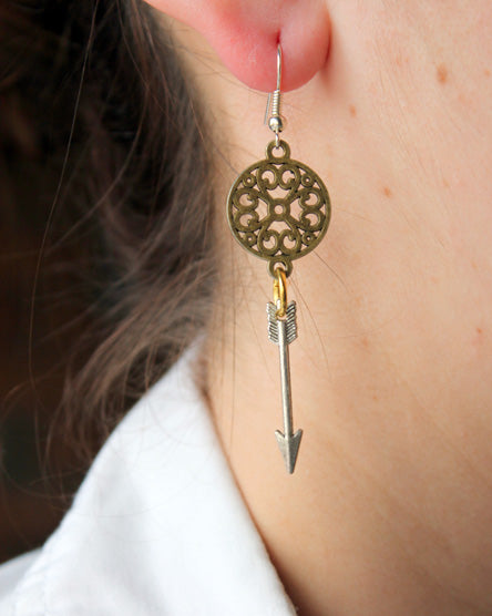Mixed Metal Silver Arrow Earrings