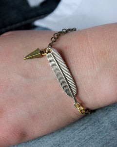 Mixed Metal Feather + Spike Bracelet