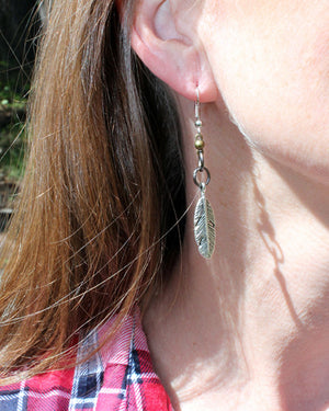 Mixed Metal Silver Feather Earrings