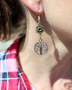 Silver Tree Of Life Mixed Metal Earrings
