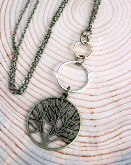 Mixed Metal Tree Necklace