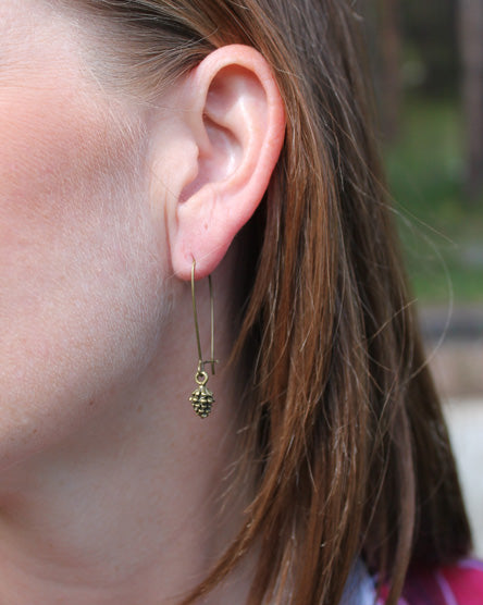Pine Cone Brass Earrings