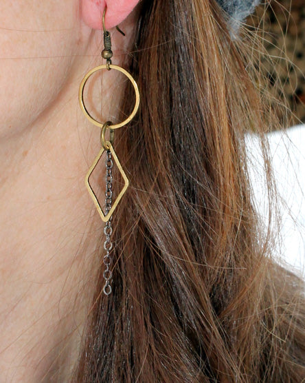 Raw Brass Geometric Shape Earrings