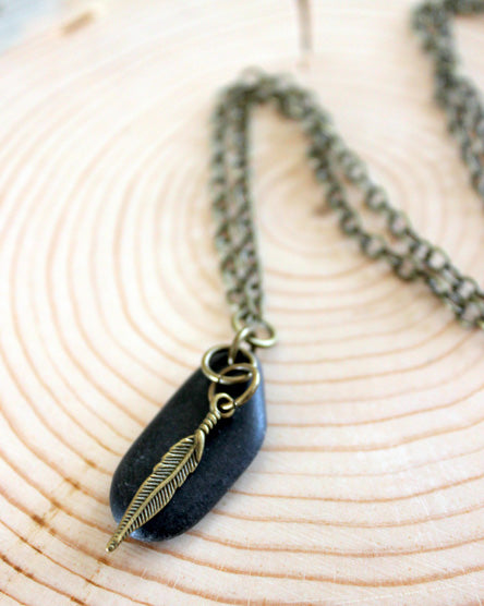 Brass Feather + Stone Necklace