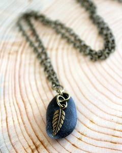 Brass Leaf + Stone Necklace