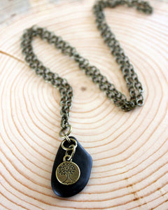 Brass Tree + Stone Necklace