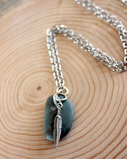 Silver Feather + Stone Necklace