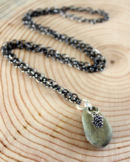 Silver Pine Cone + Stone Necklace