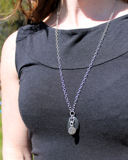 Silver Tree + Stone Necklace