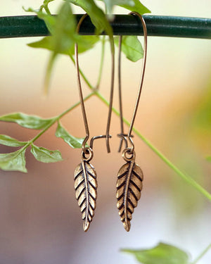 Tiny Leaf Brass Earrings