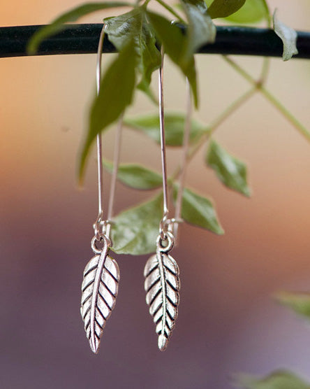 Tiny Leaf Silver Earrings
