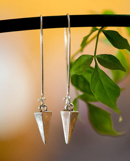 Tiny Spike Silver Earrings