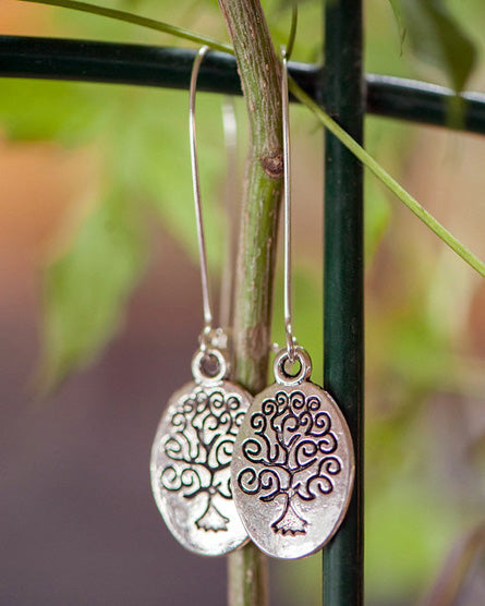 Tree Of Life Oval Silver Earrings