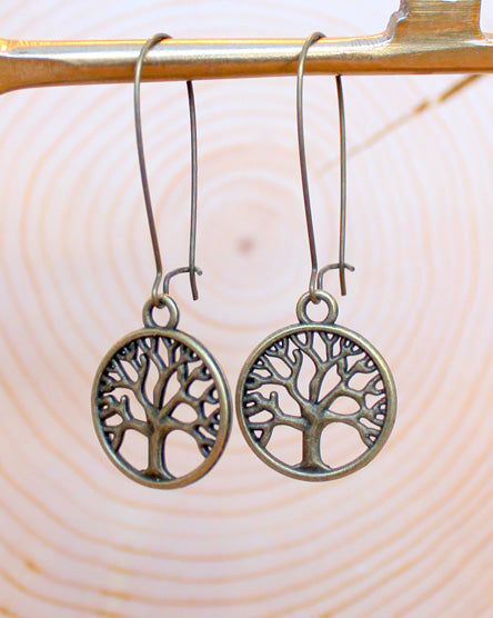 Tree Of Life Round Brass Earrings