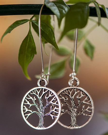 Tree Of Life Round Silver Earrings