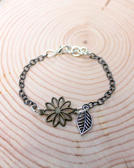 Mixed Metal Flower and Leaf Bracelet
