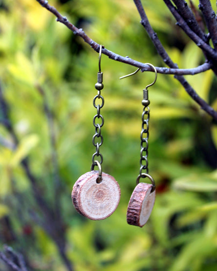 Drop Wood Earrings