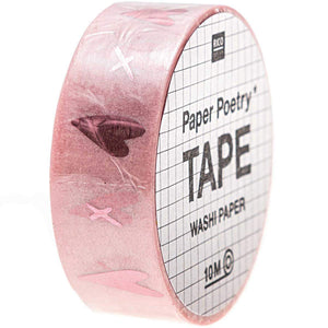 RICO DESIGN - PAPER POETRY TAPE IT MUST BE LOVE HERZEN ROSA 1,5CM 10M