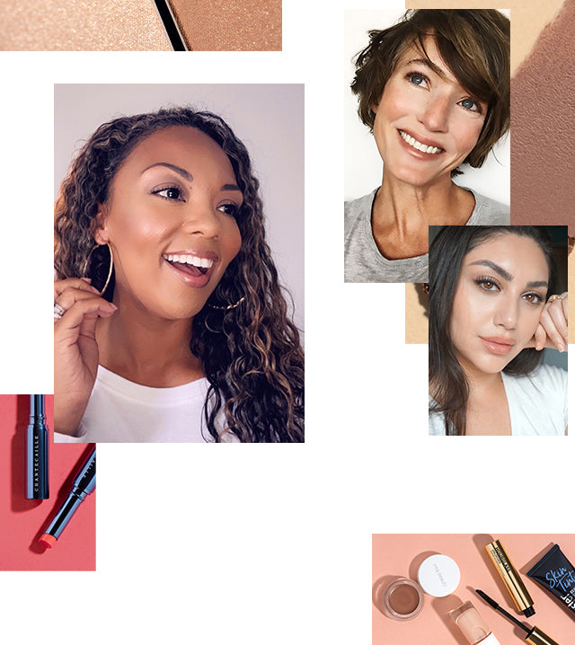A collage of women, makeup products, and makeup swatches