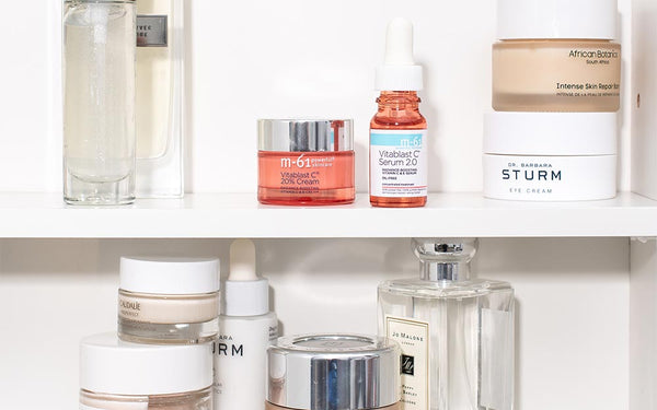 Shelfie of M-61, Dr. Barbara Sturm, Chantecaille, and more