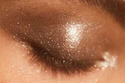 Closeup of an eyelid with glitter