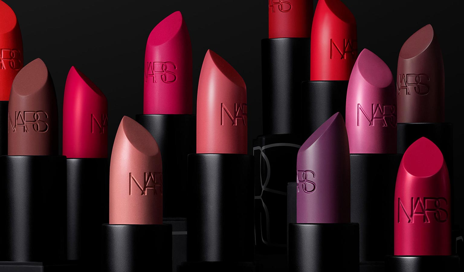 A lineup of NARS lipsticks