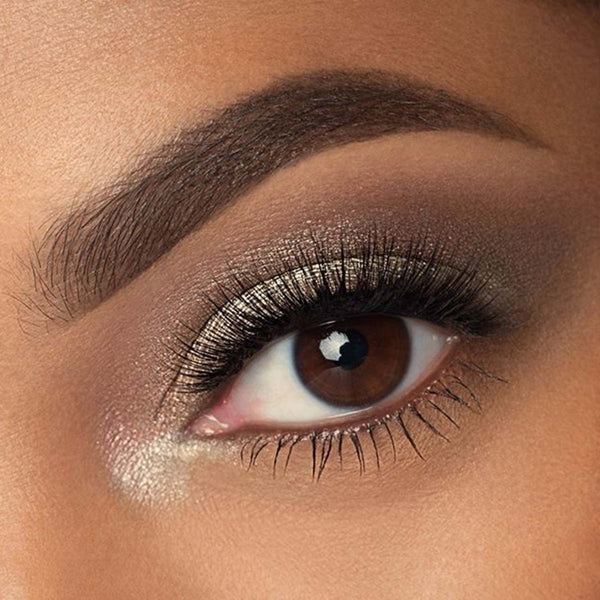 An closeup of an eye with a fall eyeshadow look