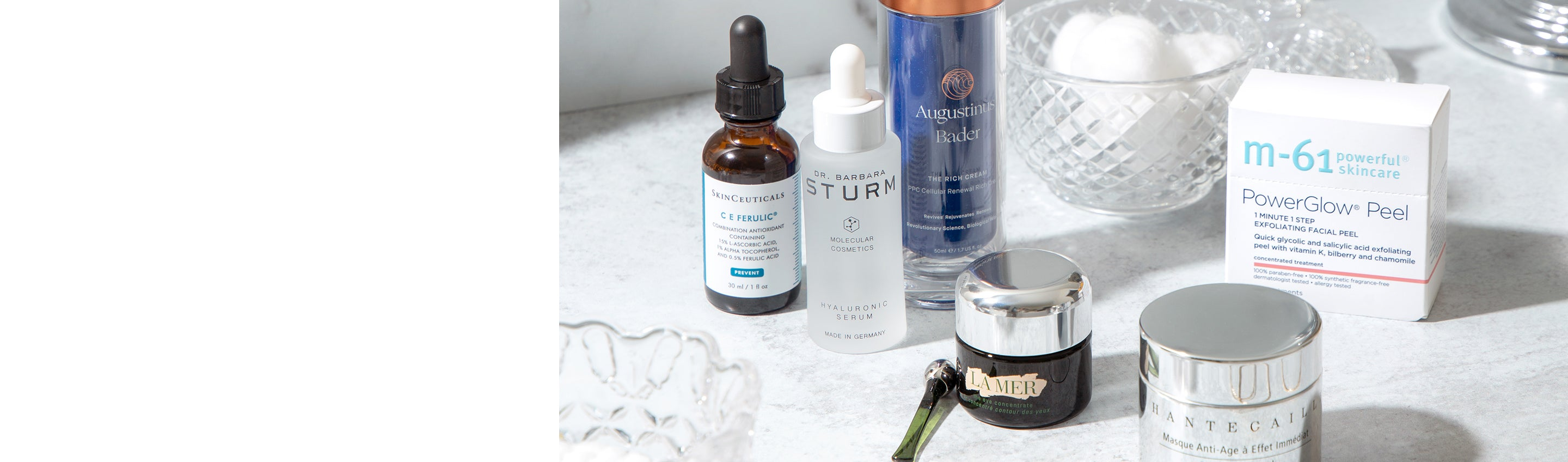 Skincare products from M-61, La Mer, Chantecaille, SkinCeuticals, Dr. Barbara Sturm, and Augustinus Bader