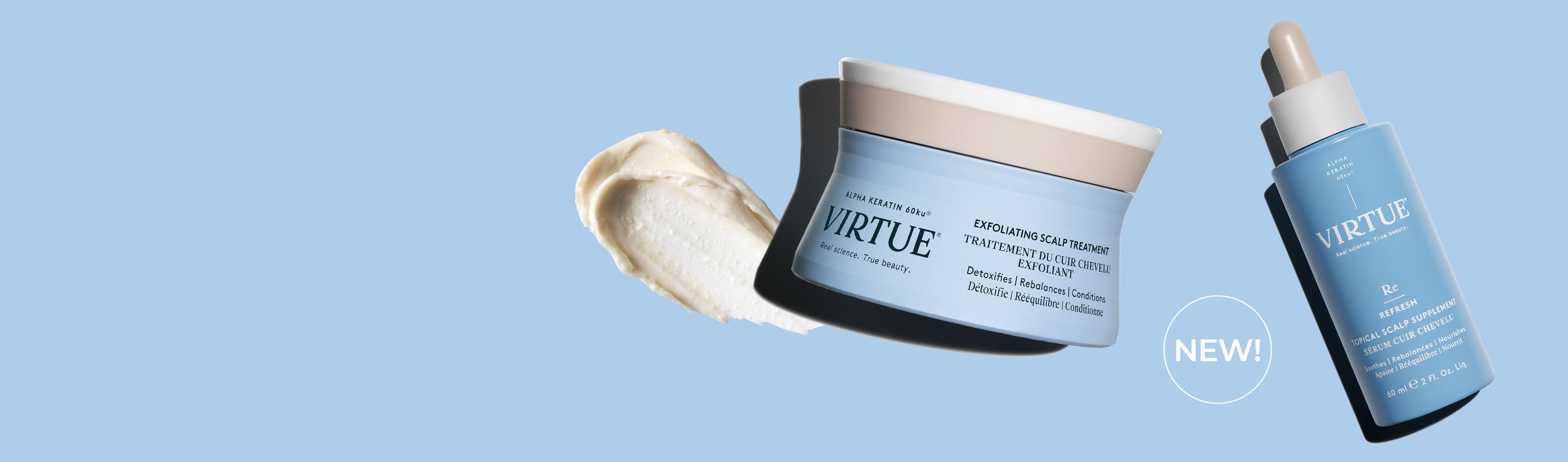 Virtue Exfoliating Scalp Scrub Treatment and Topical Treatment with the word NEW on a blue background