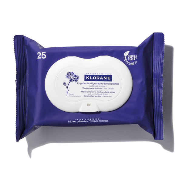 Make-up remover biodegradable wipes with soothing cornflower