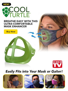 Cool turtle banner with cool turtle mask enhancer and women wearing cool turtle mask enhancer with three smaller images of people wearing cool turtle mask enhancer and text saying breathe easy with this ultra-comfortable mask enhancer