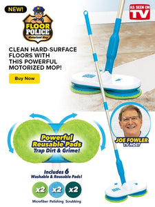 "Banner of Floor Police Mop on a white background. floor police mop mopping up dirt with text reading ""Clean & sanitize hard-surface floors with this powerful motorized mop!"" theres a picture of joe fowler in a circle on the right. red as seen on tv logo on the bottom right."