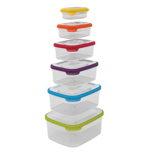 All pieces in the Joseph Joseph 12Pc Storage Container Set lined up vertically in order from smallest to largest