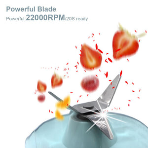 Close up of blades chopping pieces of fruit. Text says powerful blade, powerful: 22000rpm/20s ready
