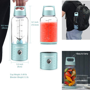 Close up of someone holding a Portable Blender and it shows the measurements. 10.2 inch (26cm) x 3.2 inch (8cm), 6.1 inch (15.5cm), image of someone wearing a backpack with a portable blender in the pocket, image of Portable Blender with fruit in it on a table. Text says cup weight: 0.49 pounds, blender weight: 1.3 pounds, easy to carry