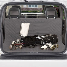 Load image into Gallery viewer, Golf bag and clubs laying on protector in trunk of a bar