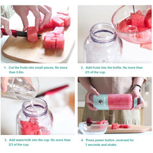 Load image into Gallery viewer, 4 images of woman slicing watermelon slices on a cutting board, then them pouring the bowl of slices into the Portable Blender bottle, Then pouring a cup of water into the Portable Blender with the fruit slices in it, then a close up of them holding the Portable Blender horizontally after the fruit has been blended