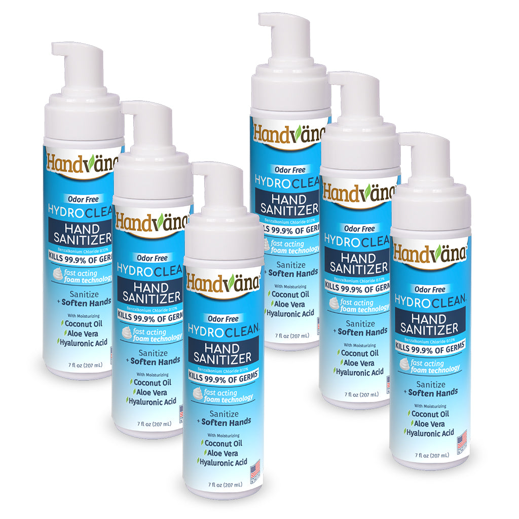 6 bottles of Hydroclean Foam Hand Sanitizer isolated on white background