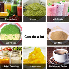 Load image into Gallery viewer, Multiple images of the different things that can be made with the Portable Blender; fresh juice, puree, milkshake, soy milk, bulletproof coffee, smoothies, salad dressing, baby food.
