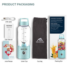 Load image into Gallery viewer, Portable Blender and the accessories it comes with on a white background. Usb cable, user manual, juice recipe book, juicer cup, cup bag, packing box