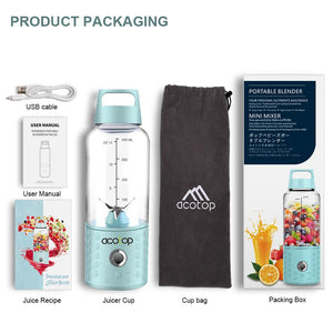 Portable Blender and the accessories it comes with on a white background. Usb cable, user manual, juice recipe book, juicer cup, cup bag, packing box