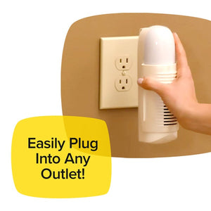 Woman's hand is holding Air Police and ready to plug it into an outlet on a tan wall. Headline says Easily Plug Into Any Outlet
