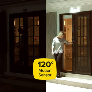 image of woman inside of her house by the door ready to walk out and it is dark outside. on the right image of woman stepping out of her house with atomic sunblast shining as she shuts the door. Yellow text box sits on top of both images on the bottom with black letters reading 120° motion sensor