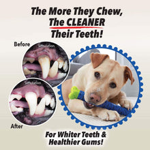 "Load image into Gallery viewer, includes text ""The More They Chew, The CLEANER Their Teeth!"", ""For Whiter Teeth & Healthier Gums!"",  a dog chewing on a Chewbrush, two before and after close up photos of a dog's mouth"