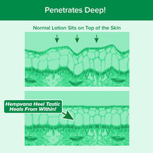 Load image into Gallery viewer, Hempvana Heel Tastic infographic showing demonstration of normal lotion vs Hempvana Heel Tastic working on skin. Text says Penetrates Deep! Normal Lotion Sits on Top of the Skin, Hempvana Heel Tastic Heals From Within!