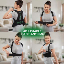 "Load image into Gallery viewer, Four photos in a square of a woman putting on Hempvana Arrow Posture, each photo is a different stage of her putting on the product, includes the text ""Adjustable To Fit Any Size"""