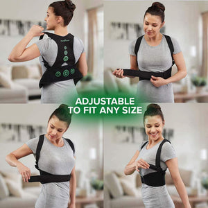 "Four photos in a square of a woman putting on Hempvana Arrow Posture, each photo is a different stage of her putting on the product, includes the text ""Adjustable To Fit Any Size"""